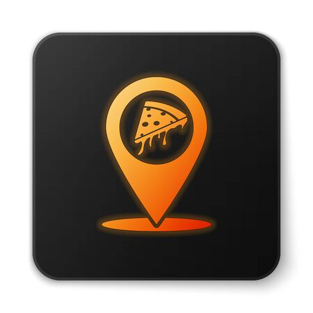 Orange glowing Map pointer with fast food slice pizza icon isolated on white background. Pizzeria location icon. Pizza cafe and restaurant marker. Black square button. Vector Illustration