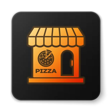 Orange glowing Pizzeria building facade icon isolated on white background. Fast food pizzeria kiosk. Black square button. Vector Illustration