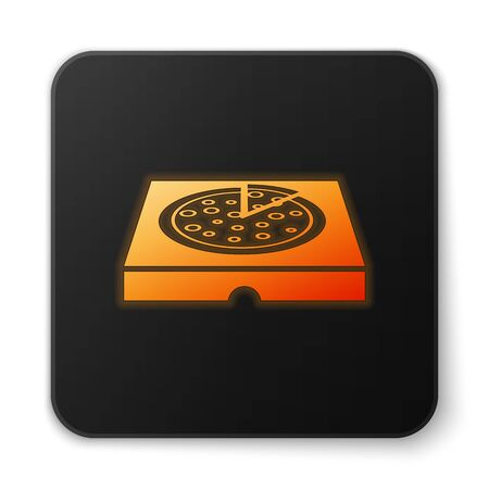 Orange glowing Pizza in cardboard box icon isolated on white background. Box with layout elements. Black square button. Vector Illustration Illustration