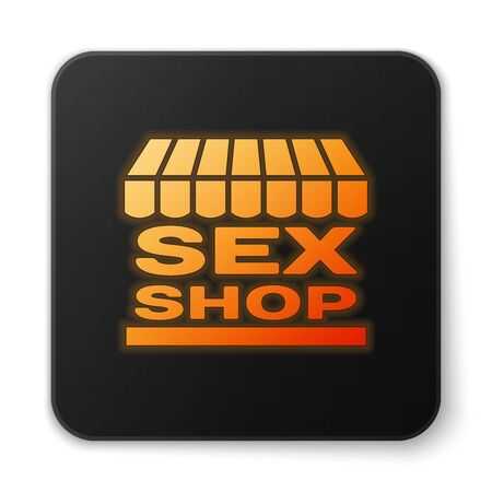 Orange glowing Sex shop building with striped awning icon isolated on white background. Sex shop, online sex store, adult erotic products concept. Black square button. Vector Illustration