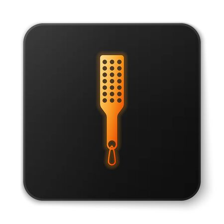 Orange glowing Spanking paddle icon isolated on white background. Fetish accessory. Sex toy for adult. Black square button. Vector Illustration