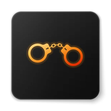Orange glowing Handcuffs icon isolated on white background. Black square button. Vector Illustration Standard-Bild - 124592219