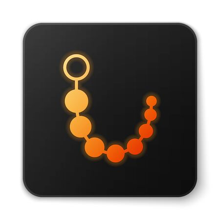 Orange glowing Anal beads icon isolated on white background. Anal balls sign. Fetish accessory. Sex toy for men and woman. Black square button. Vector Illustration