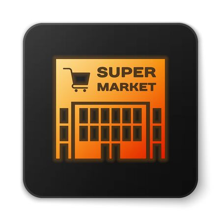 Orange glowing Supermarket building with shopping cart icon isolated on white background. Shop or store. Mall building. Black square button. Vector Illustration
