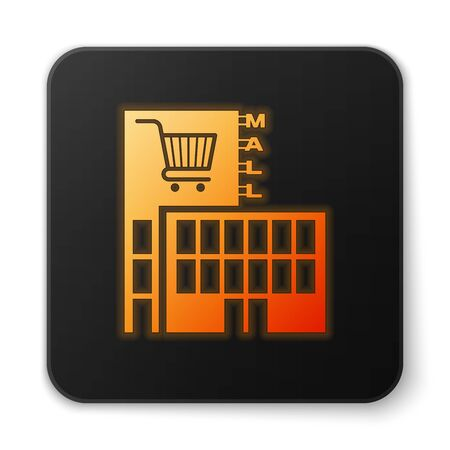 Orange glowing Mall or supermarket building with shopping cart icon isolated on white background. Shop or store. Black square button. Vector Illustration Illustration