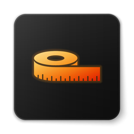 Orange glowing Tape measure icon isolated on white background. Measuring tape. Black square button. Vector Illustration Illustration