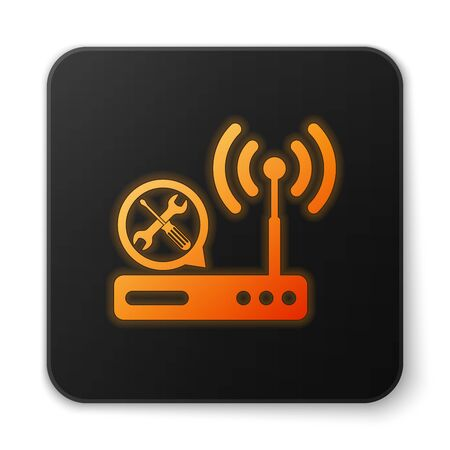 Orange glowing Router wi-fi with screwdriver and wrench icon isolated on white background. Adjusting, service, setting, maintenance, repair, fixing. Black square button. Vector Illustration