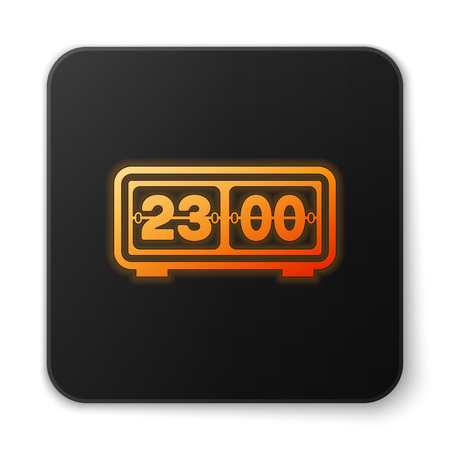 Orange glowing Retro flip clock icon isolated on white background. Wall flap clock, number counter template, all digits with flips. Black square button. Vector Illustration