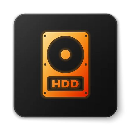 Orange glowing Hard disk drive HDD icon isolated on white background. Black square button. Vector Illustration