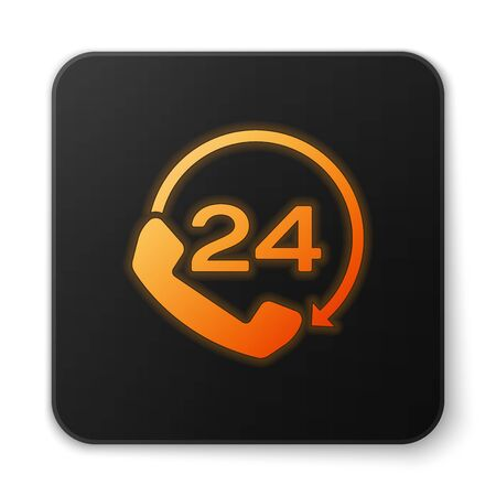 Orange glowing Telephone 24 hours support icon isolated on white background. All-day customer support call-center. Full time call services. Black square button. Vector Illustration