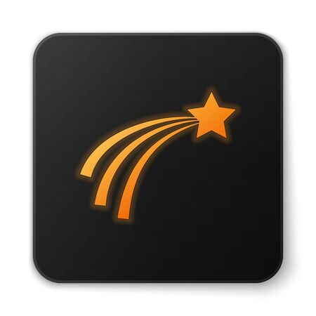 Orange glowing Falling star icon isolated on white background. Shooting star with star trail. Meteoroid, meteorite, comet, asteroid, star icon. Black square button. Vector Illustration