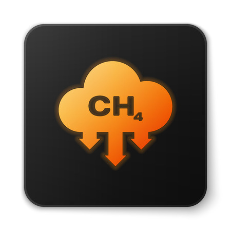 Orange glowing Methane emissions reduction icon isolated on white background. CH4 molecule model and chemical formula. Marsh gas. Natural gas. Black square button. Vector Illustration