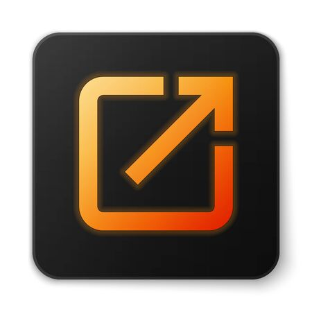 Orange glowing Open in new window icon isolated on white background. Open another tab button sign. Browser frame symbol. External link sign. Black square button. Vector Illustration