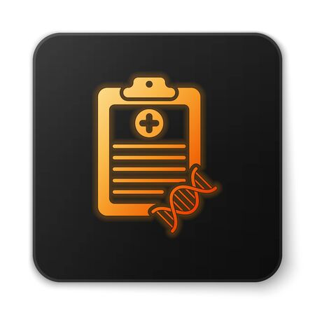 Orange glowing Clipboard with DNA analysis icon isolated on white background. Genetic engineering, genetics testing, cloning, paternity testing. Black square button. Vector Illustration