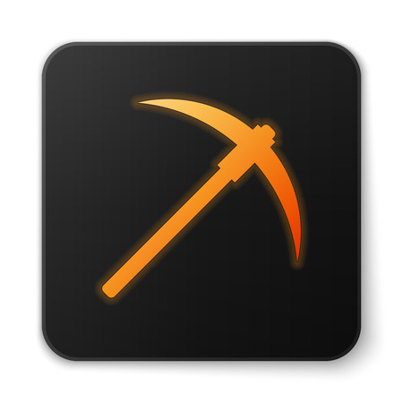 Orange glowing Pickaxe icon isolated on white background. Blockchain technology, cryptocurrency mining, bitcoin, digital money market, cryptocoin wallet. Black square button. Vector Illustration