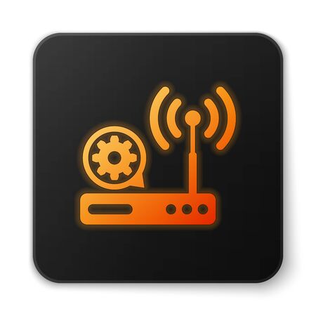 Orange glowing Router and wi-fi signal and gear icon on white background. Adjusting app, service concept, setting options, maintenance, repair, fixing. Black square button. Vector Illustration
