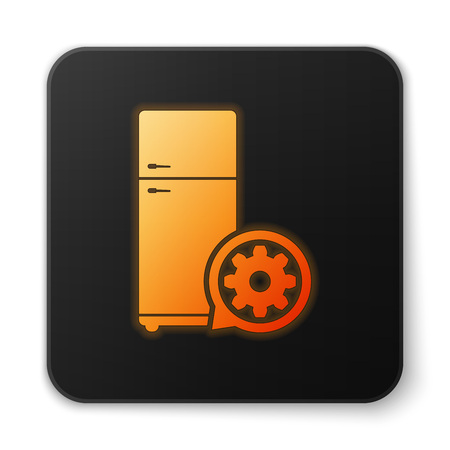 Orange glowing Refrigerator and gear icon isolated on white background. Adjusting app, service concept, setting options, maintenance, repair, fixing. Black square button. Vector Illustration