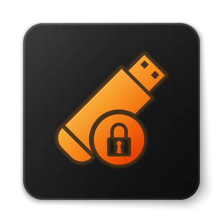 Orange glowing USB flash drive with closed padlock icon isolated on white background. Security, safety, protection concept. Black square button. Vector Illustration