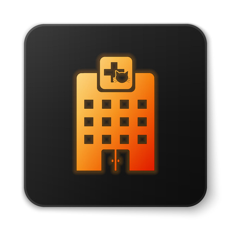 Orange glowing Veterinary medicine hospital, clinic or pet shop for animals icon isolated on white background. Vet or veterinarian clinic. Black square button. Vector Illustration