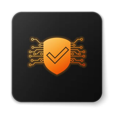 Orange glowing Cyber security icon isolated on white background. Shield with check mark sign. Safety concept. Digital data protection. Black square button. Vector Illustration