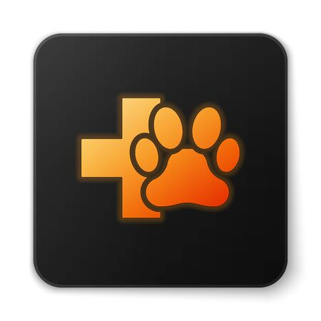 Orange glowing Veterinary clinic symbol icon isolated on white background. Cross hospital sign. A stylized paw print dog or cat. Pet First Aid sign. Black square button. Vector Illustration Vettoriali