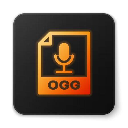 Orange Glowing OGG File Document Icon  Download Ogg Button Icon