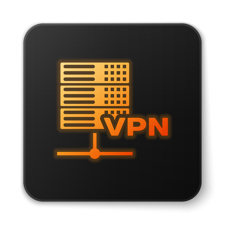 Orange glowing Server VPN icon isolated on white background. Black square button. Vector Illustration