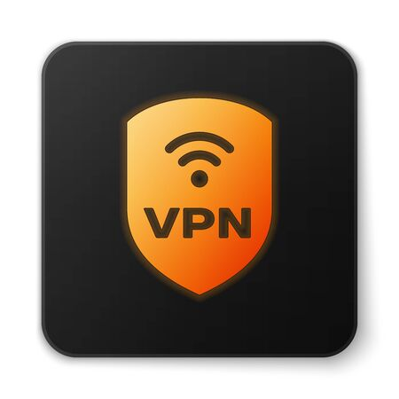 Orange glowing Shield with VPN and wifi wireless internet network symbol icon isolated on white background. VPN protect safety concept. Black square button. Vector Illustration