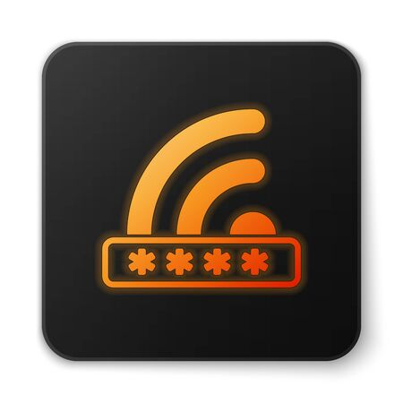 Orange glowing Wifi locked sign icon isolated on white background. Password wi-fi symbol. Wireless Network icon. Wifi zone. Limited access. Black square button. Vector Illustration