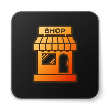 Orange glowing Shopping building or market store icon isolated on white background. Shop construction. Black square button. Vector Illustration Illustration