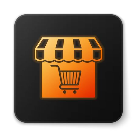 Orange glowing Shopping building or market store with shopping cart icon isolated on white background. Shop construction. Supermarket basket symbol. Black square button. Vector Illustration Illustration