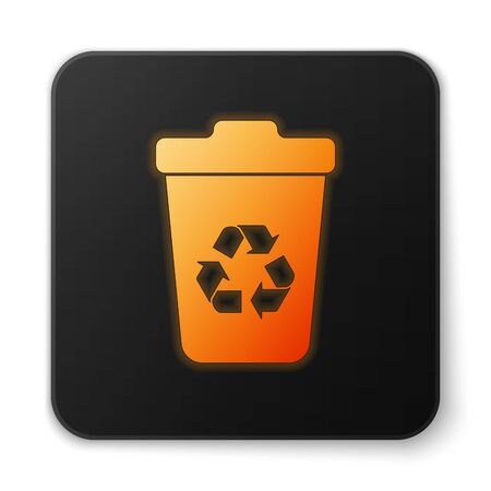 Orange glowing Recycle bin with recycle symbol icon isolated on white background. Trash can icon. Garbage bin sign. Recycle basket sign. Black square button. Vector Illustration Illustration