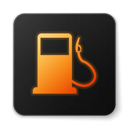 Orange glowing Petrol or Gas station icon isolated on white background. Car fuel symbol. Gasoline pump. Black square button. Vector Illustration