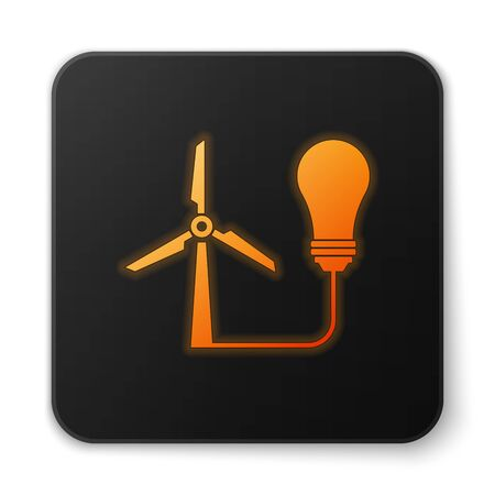 Orange glowing Light bulb with wind turbine as idea of eco friendly source of energy icon isolated on white background. Alternative energy concept. Black square button. Vector Illustration Ilustrace