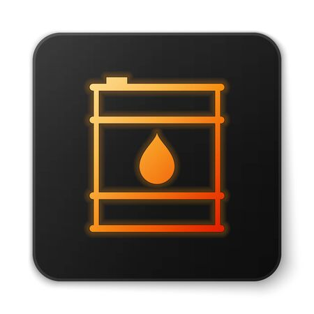 Orange glowing Oil barrel line icon isolated on white background. Oil drum container. For infographics, fuel, industry, power, ecology. Black square button. Vector Illustration Illustration