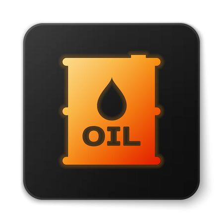 Orange glowing Oil barrel icon isolated on white background. Oil drum container. For infographics, fuel, industry, power, ecology. Black square button. Vector Illustration