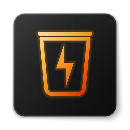 Orange glowing Lightning with trash can icon isolated on white background. Waste to energy. Garbage bin sign. Recycle basket sign. Black square button. Vector Illustration