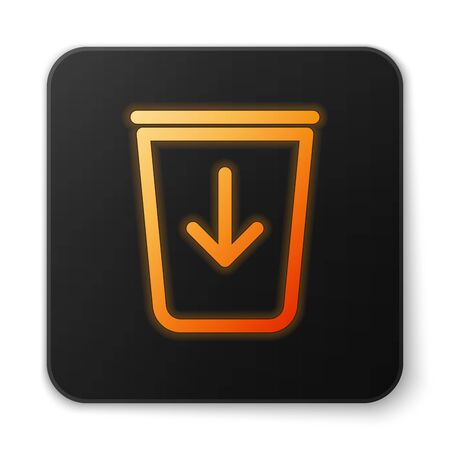 Orange glowing Send to the trash line icon isolated on white background. Black square button. Vector Illustration