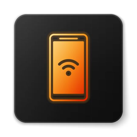 Orange glowing Smartphone with free wi-fi wireless connection icon isolated on white background. Wireless technology, wi-fi connection, wireless network. Black square button. Vector Illustration