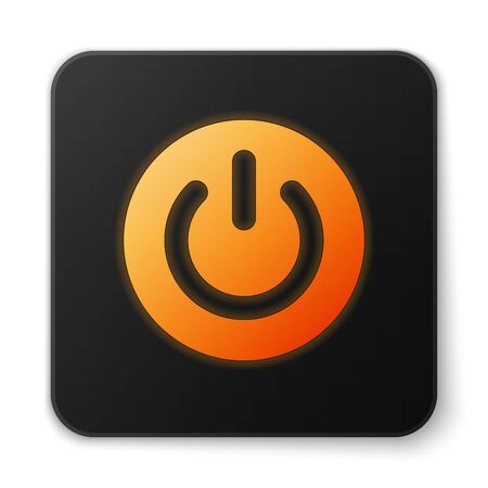 Orange glowing Power button icon isolated on white background. Start sign. Flat design. Black square button. Vector Illustration Illustration