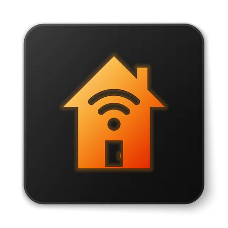 Orange glowing Smart home with wi-fi icon isolated on white background. Remote control. Black square button. Vector Illustration