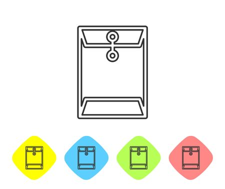 Grey Envelope line icon isolated on white background. Email message letter symbol. Set icon in color rhombus buttons. Vector Illustration