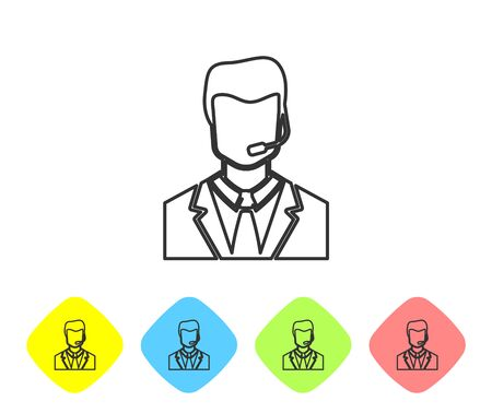 Grey Man with a headset line icon isolated on white background. Support operator in touch. Concept for call center, client support service. Set icon in color rhombus buttons. Vector Illustration Illustration