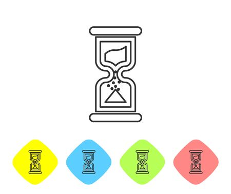 Grey Old hourglass with flowing sand line icon isolated on white background. Sand clock sign. Business and time management concept. Set icon in color rhombus buttons. Vector Illustration Stock Vector - 124593943