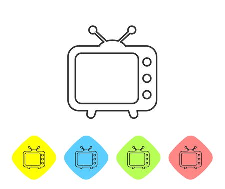 Grey Tv line icon isolated on white background. Television sign. Set icon in color rhombus buttons. Vector Illustration