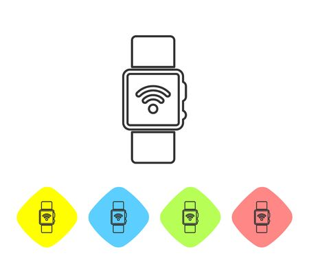 Grey Smartwatch with wireless symbol line icon isolated on white background. Set icon in color rhombus buttons. Vector Illustration Illustration