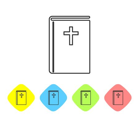 Grey Holy bible book line icon isolated on white background. Set icon in color rhombus buttons. Vector Illustration Çizim