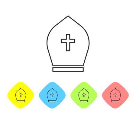 Grey Pope hat line icon isolated on white background. Christian hat sign. Set icon in color rhombus buttons. Vector Illustration  イラスト・ベクター素材
