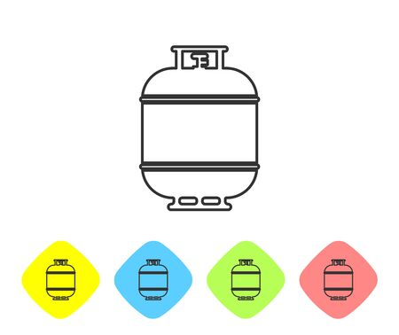 Grey Propane gas tank line icon isolated on white background. Flammable gas tank icon. Set icon in color rhombus buttons. Vector Illustration