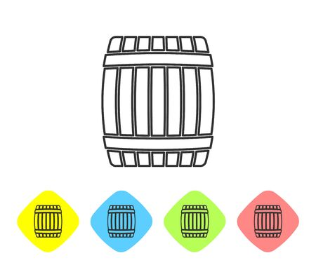 Grey Wooden barrel line icon isolated on white background. Set icon in color rhombus buttons. Vector Illustration